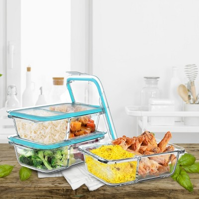 Glass Food Storage Containers-3, Two Compartment Portion Control Meal Prep Glassware with Snap Shut Lids-Microwave, Dishwasher Safe by Hastings Home