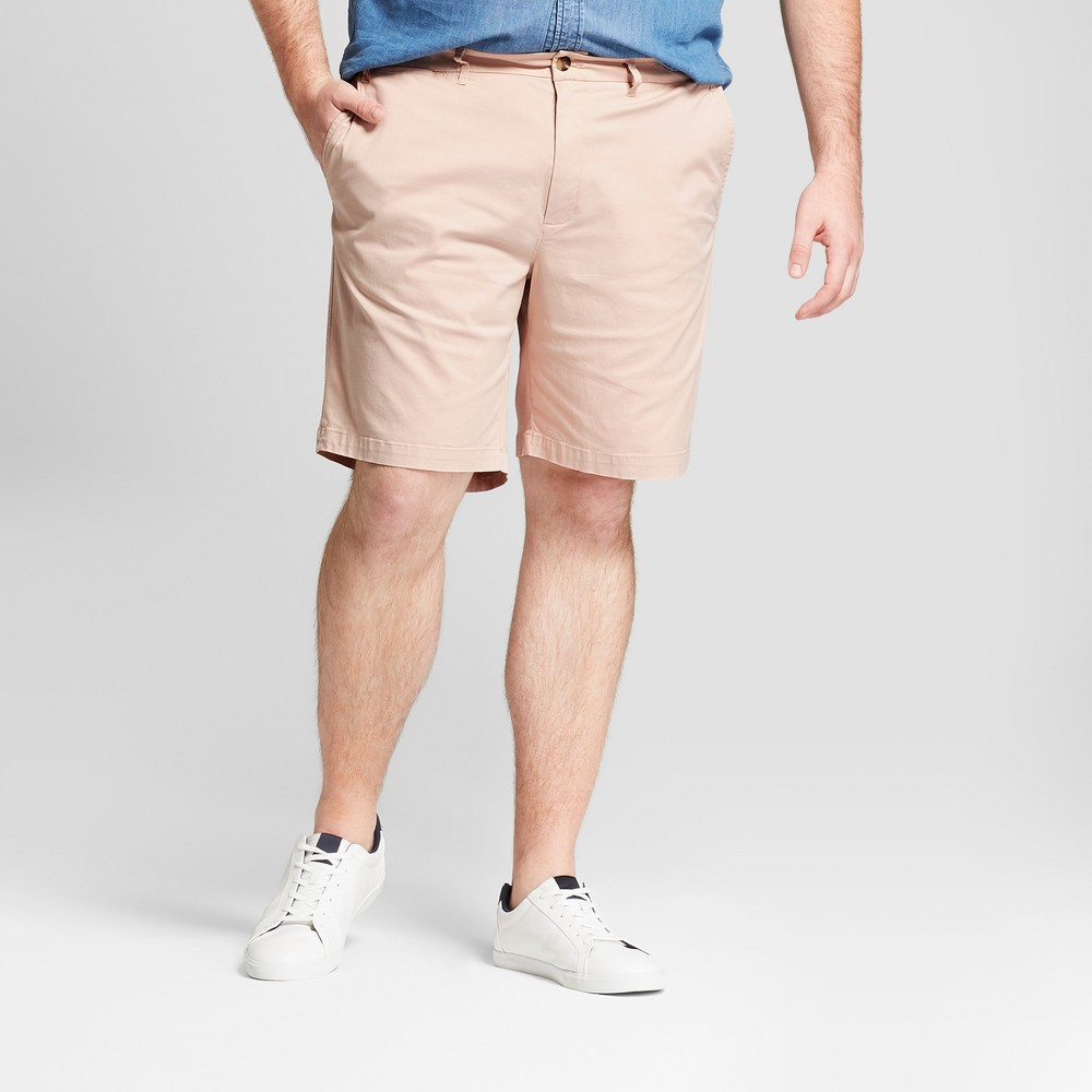 Men's Big & Tall 9 Linden Flat Front Chino Shorts - Goodfellow & Co Peach (Pink) 56