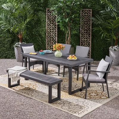 Garner 6pc Wood and Wicker Chair and Bench Dining Set  Sandblast Dark Gray/Gray - Christopher Knight Home