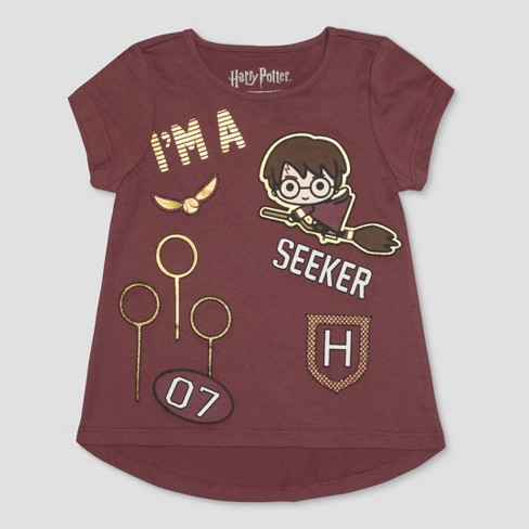 Toddler Girls' Harry Potter I'm A Seeker Short Sleeve T-Shirt - Brown - image 1 of 2