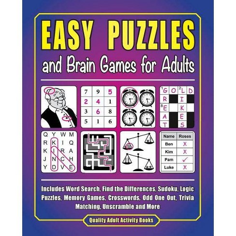 Easy Puzzles and Brain Games for Adults - by J D Kinnest (Paperback)
