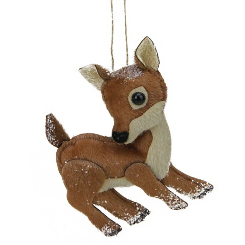 "Northlight 6"" Brown and White Plush Stuffed Deer Christmas Ornament - image 1 of 2"