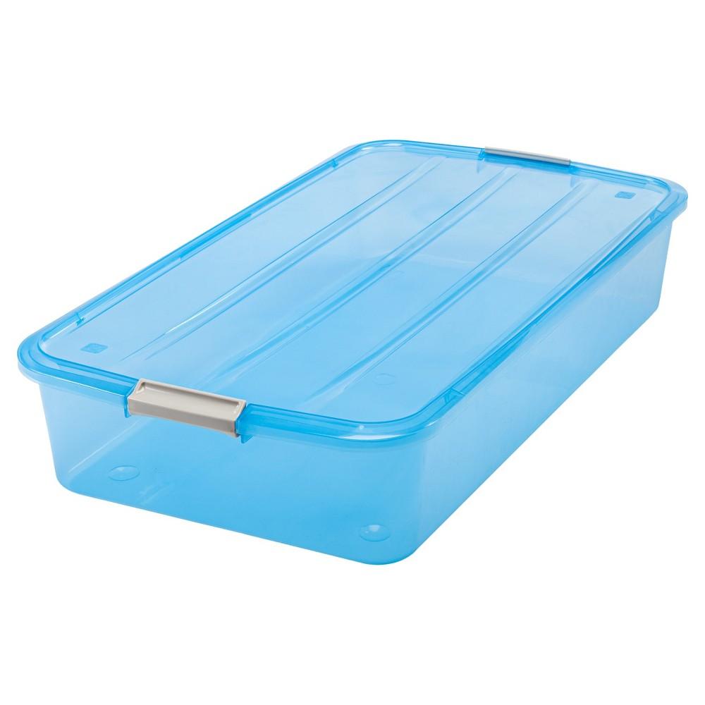Image of 6pk Iris 50qt Under-Bed Plastic Storage Bin, Blue