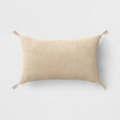 Washed Linen Lumbar Throw Pillow with Tassels Neutral - Threshold™