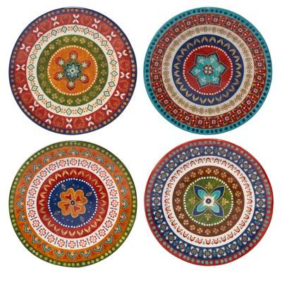 "Certified International Monterrey by Veronique Charron Ceramic Dinner Plates 11.3"" Blue - Set of 4"