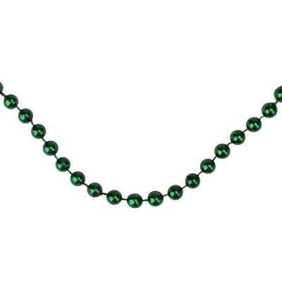 "Northlight 15' x 0.25"" Shiny Metallic Emerald Green Beaded Artificial Christmas Garland - Unlit"