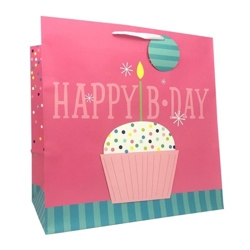 Large Happy Birthday Cup Cake Bag - Spritz™ - image 1 of 1