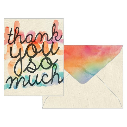 10ct Rainbow Thank You Cards - Green Inspired - image 1 of 1