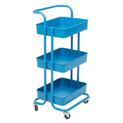 Pemberly Row 3 Tier Mobile Storage Caddy in Blue