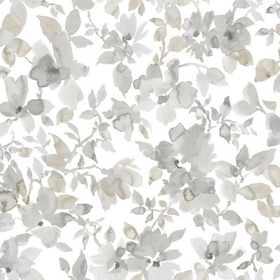 "RoomMates 28.2"" Neutral Watercolor Floral P&S Wallpaper Tan"