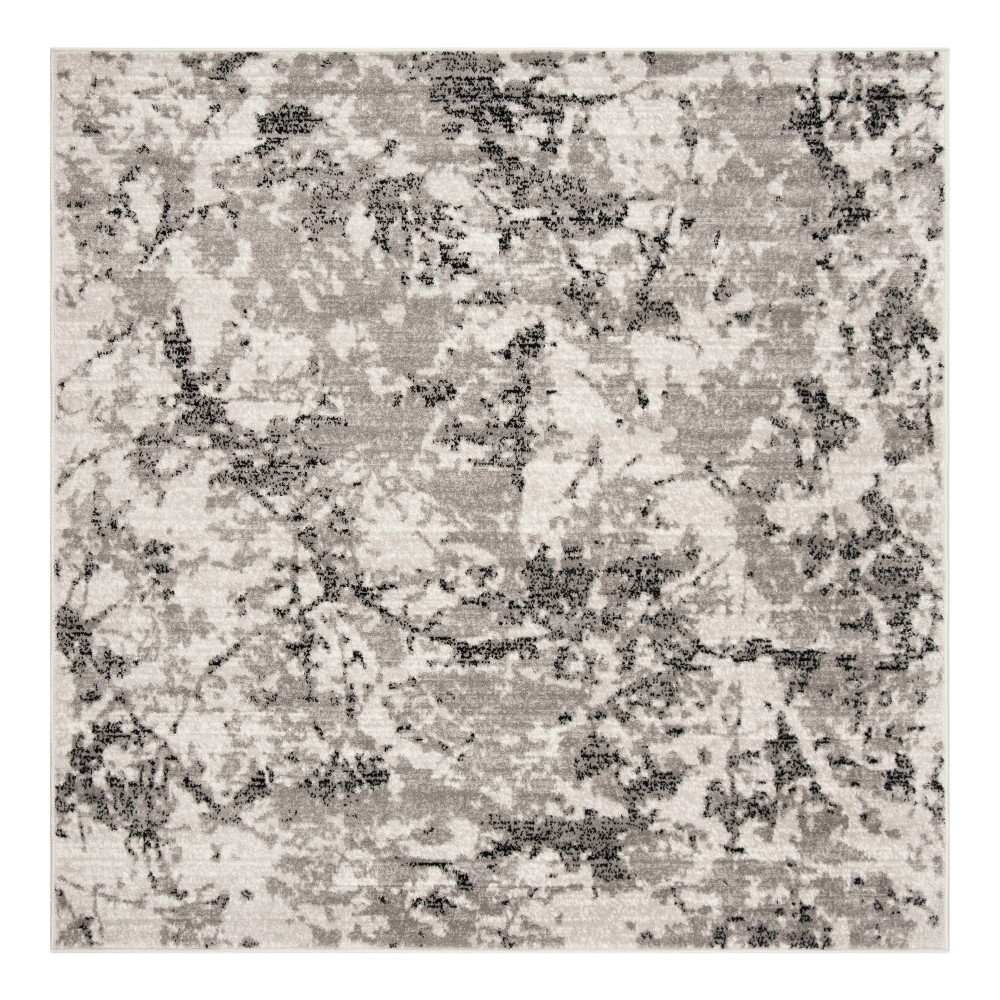 Gray/Ivory Fleck Loomed Square Area Rug 6'7