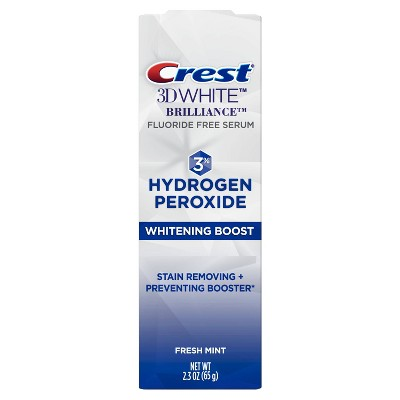 Crest 3D White Brilliance Hydrogen Peroxide Teeth Whitening Boost - Fluoride Free - 2.3oz