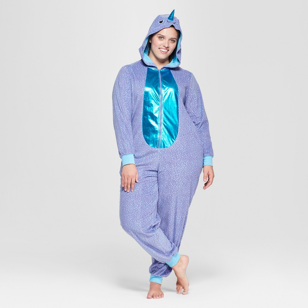 Women's Plus Size Halloween Narwhal Union Suit - Xhilaration Blue 3X-4X, Purple
