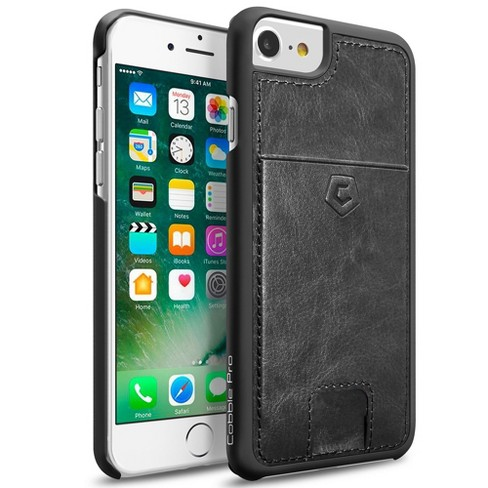 Cobble Pro Leather Textured Back Case Cover with Card Slots compatible with Apple iPhone 6/6S/7, Black - image 1 of 4