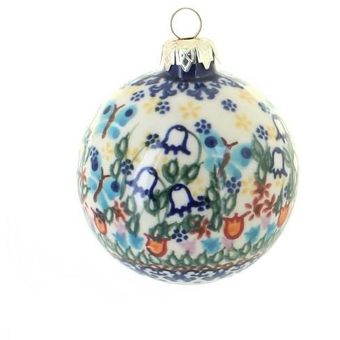 Blue Rose Polish Pottery Garden of Eden Large Christmas Ball - image 1 of 1