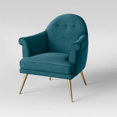 Myna Tufted Velvet Arm Chair With Brass Legs   Opalhouse™ : Target