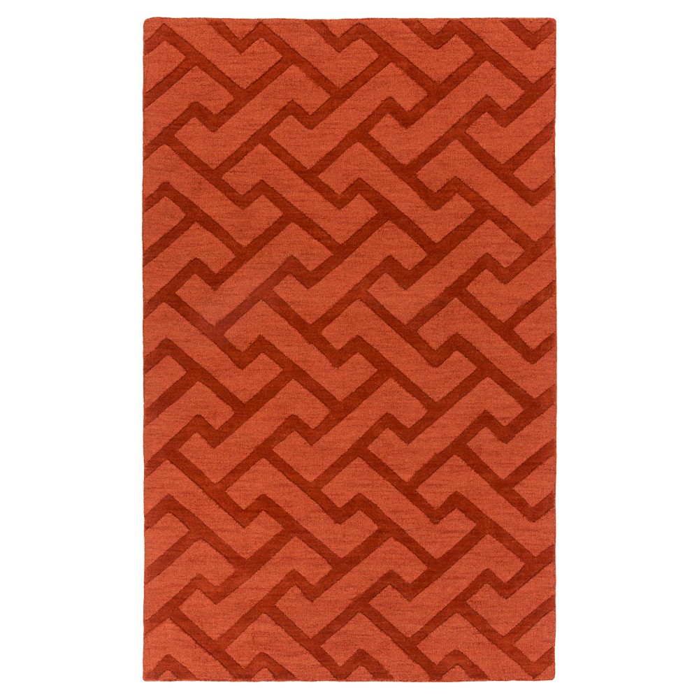 Red Abstract Loomed Area Rug - (8'X11') - Surya, Dark Red