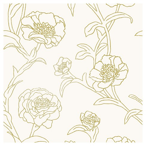 Tempaper Peonies Self-Adhesive Removable Wallpaper Gold - image 1 of 4