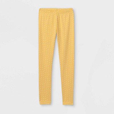 Girls' Heart Leggings - Cat & Jack™ Mustard Yellow