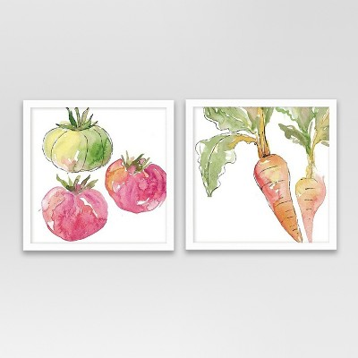 Framed Tomatoes And Carrots Watercolor 10 x10  2pk - Threshold™