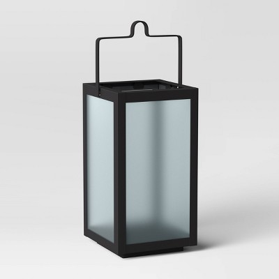 "10"" Rectangular Pillar Outdoor Lantern Candle Holder - Room Essentials™"