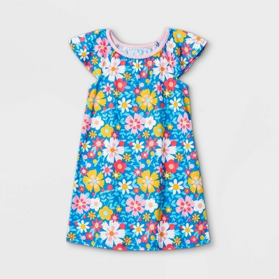 Toddler Girls' Flower Nightgown - Cat & Jack™ Blue