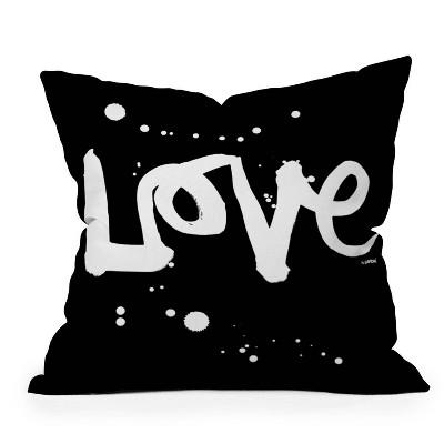 "16""x16"" Kal Barteski Love Square Throw Pillow Black - Deny Designs"
