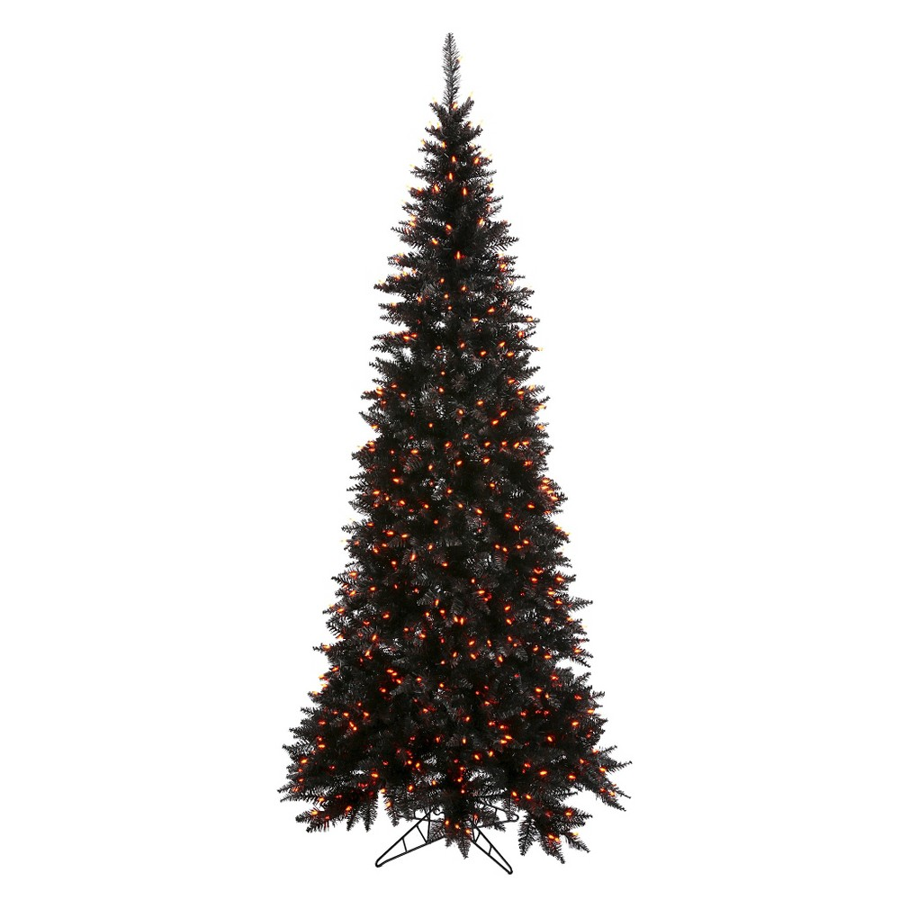 5.5ft Pre - Lit Artificial Christmas Tree Black Slim Fir