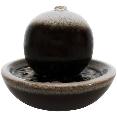 "7""H Ceramic Modern Orb Tabletop Water Fountain - Sunndyaze Decor"