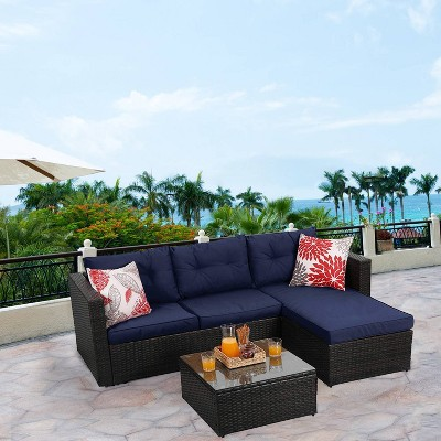 3pc Outdoor Rattan Wicker Furniture Set - Blue - Captiva Designs