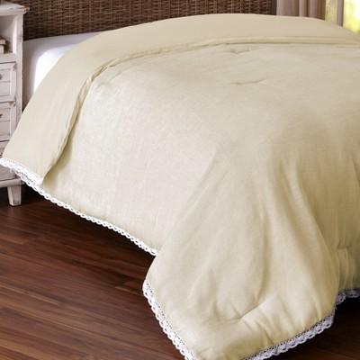 Lakeside Farmhouse Prairie Lace Trim Bedding Comforter with a Burlap Look