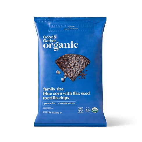 Organic Blue Corn Tortilla Chip with Flax Seeds - 18oz - Good & Gather™ - image 1 of 3