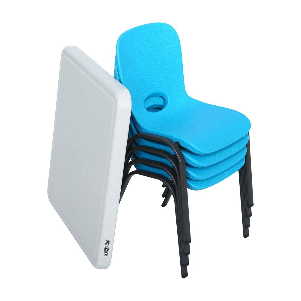 Image of Children's Table with 4 Stacking Chairs White/Glacier Blue - Lifetime, White Blue