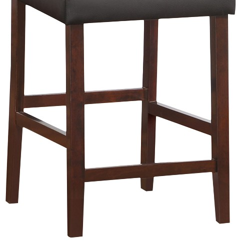 Set Of 2 Faux Leather Upholstered Back Counter Height Stool Black Leick Home Target
