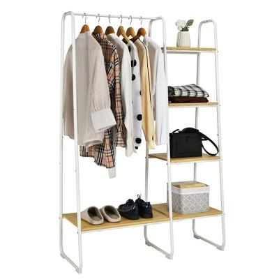Cosway Metal Garment Rack Free Standing Closet Organizer w/5 Shelves Hanging Bar