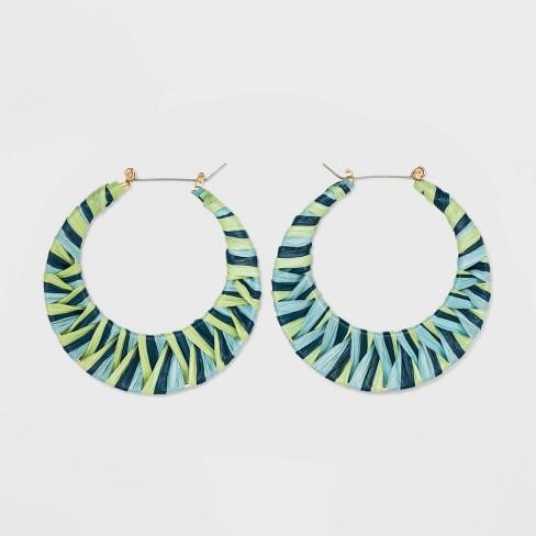 Raffia Hoop Earrings - A New Day™ Teal - image 1 of 2