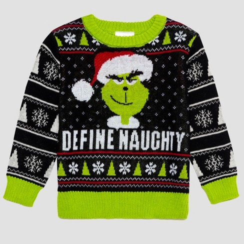 Toddler Boys Dr Seuss Grinch Ugly Holiday Sweater Black Target