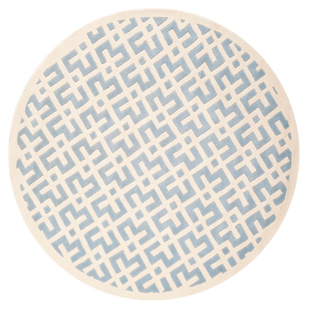 Blue/Ivory Geometric Tufted Round Area Rug 7' - Safavieh