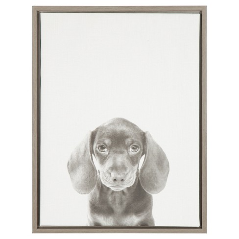 Dachshund Puppy Framed Canvas Art - Uniek - image 1 of 3