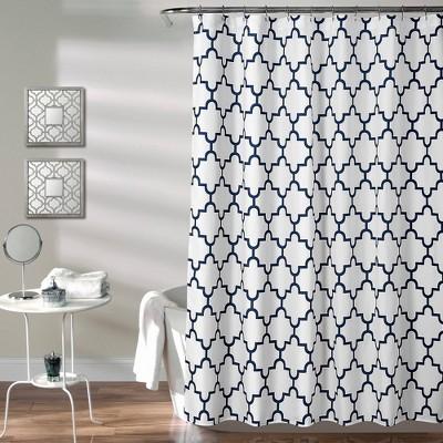 Geometric Shower Curtain Navy - Lush Décor