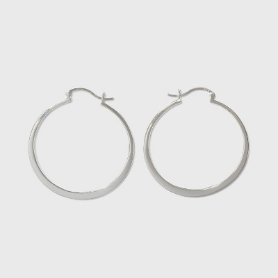Large Flat Tapered Hoop Sterling Silver Earrings - A New Day™ Silver