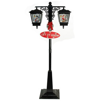 """Northlight 74"""" Black Lighted Musical Snowing Santa and Snowman Double Christmas Street Lamp"""