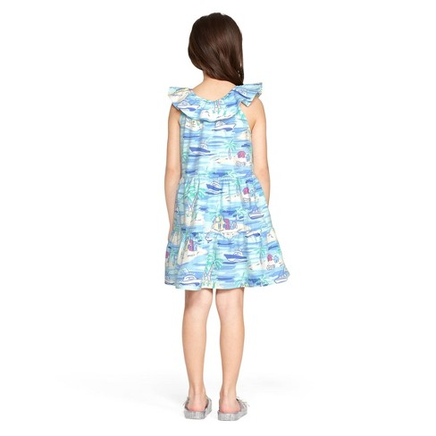 4c30dda9afa Girls  Island Scene Sleeveless Scoop Neck Ruffle Dress - Blue - Vineyard  Vines® For Target   Target
