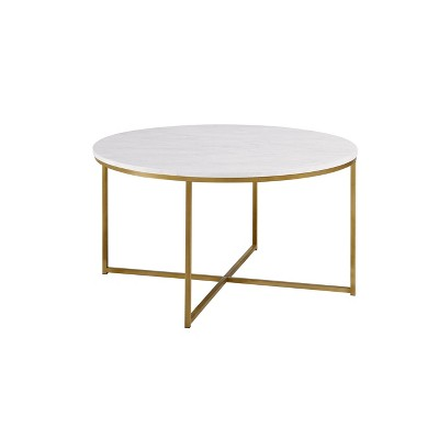 Glam X Base Round Coffee Table Faux White Marble/Gold - Saracina Home