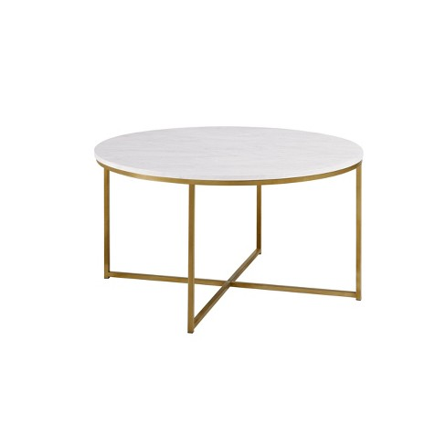 Vivian Glam X Leg Round Coffee Table Faux Marble - Saracina Home - image 1 of 4