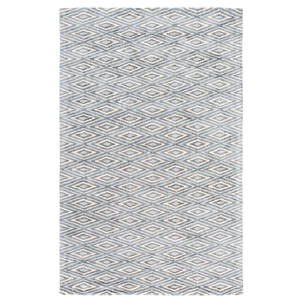 Black Solid Woven Area Rug - (6'X9') - Surya, Grey