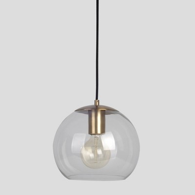 Menlo Small Glass Globe Pendant Ceiling Light Brass Includes Energy Efficient Light Bulb - Project 62™