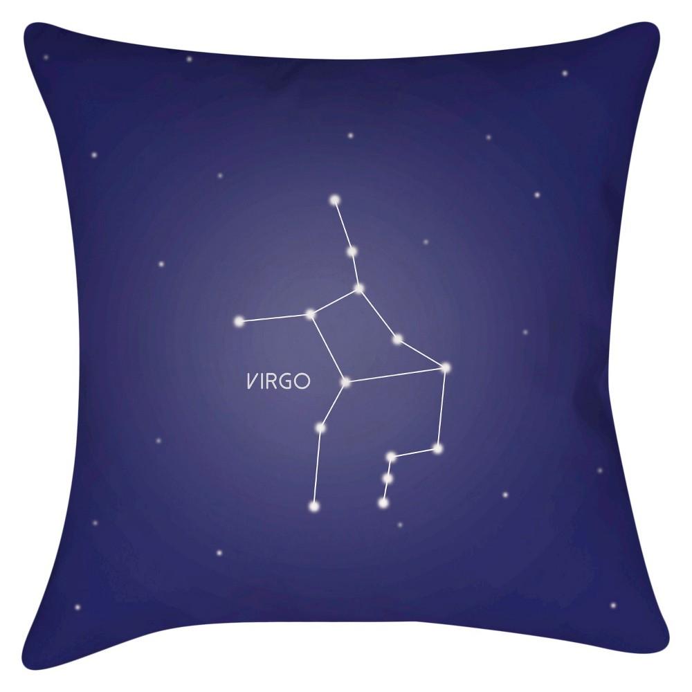 Navy (Blue) Constellation Virgo Throw Pillow 18