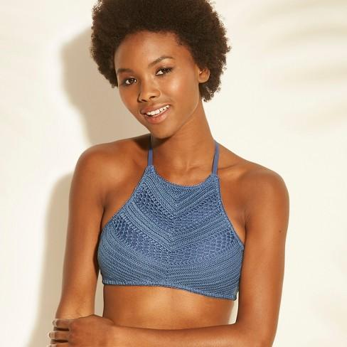 89ac2f5b353 Women's Crochet High Neck Bikini Top - Xhilaration™ Indigo