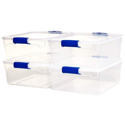 Homz Heavy Duty Modular Clear Plastic Stackable Storage Tote Containers with Latching and Locking Lids, 15.5 Quart Capacity, 4 Pack